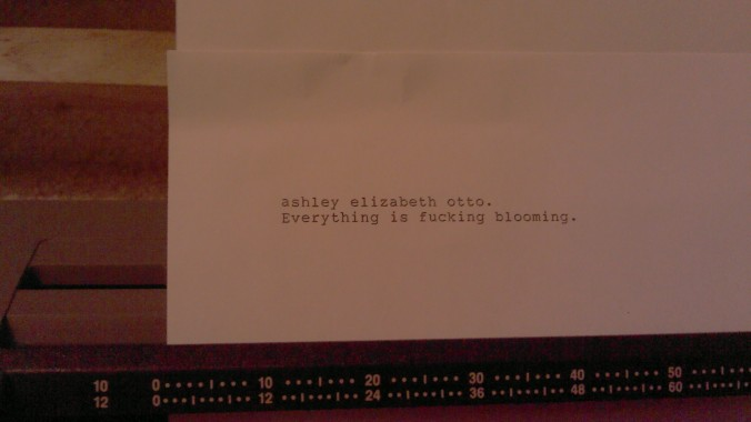 Among my many gifts from Andrea, my typewriter is my favorite, mainly because profanities look the best in a serif font.