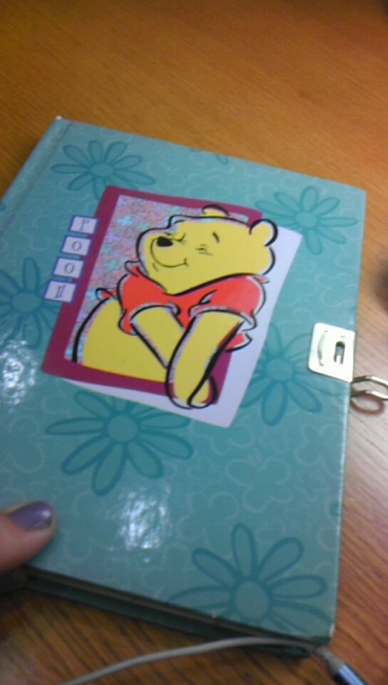 "My diary, aka ""Genna"" circa 1998. I bet most literary geniuses start by writing in Pooh journals, right?"