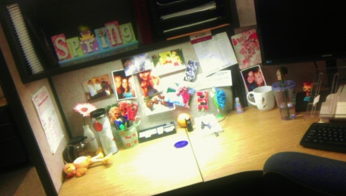 Look at this portion of my cubicle and be impressed.
