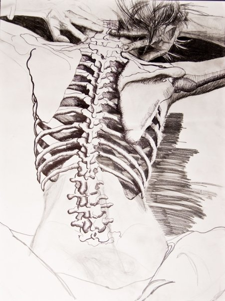 """Show Your Bones""200818""x24""Graphite, Ink, Sharpie on paper"