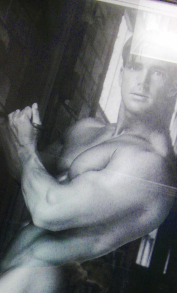 The bar we spent the night at is kind enough to put pictures of hunky men in the women's bathroom. I had to crop this one to make it family-friendly, but you get the idea.